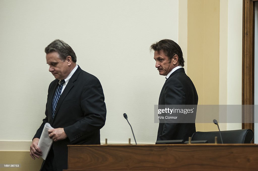 Chris Smith and Sean Penn attend the Advocating for American Jacob Ostreicher's Freedom after Two Years in Bolivian Detention hearing at the Rayburn House Office Building on May 20, 2013 in Washington, DC.
