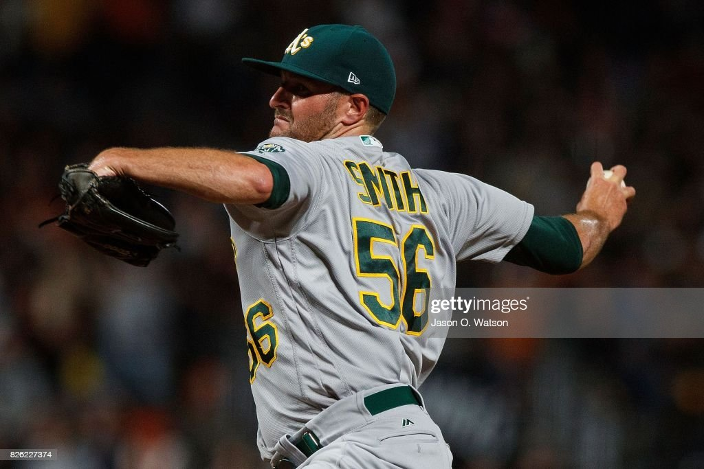Chris Smith #56 of the Oakland Athletics pitches against the San Francisco Giants during the seventh inning at AT&T Park on August 3, 2017 in San Francisco, California. The San Francisco Giants defeated the Oakland Athletics 11-2.