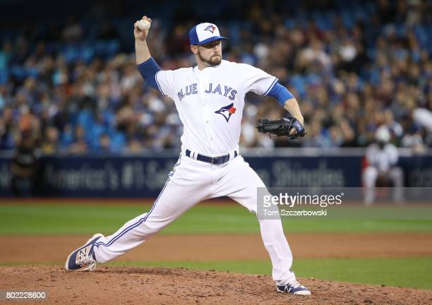 Chris Smith of the Toronto Blue Jays delivers a pitch in the ninth inning during MLB game action against the Baltimore Orioles at Rogers Centre on...