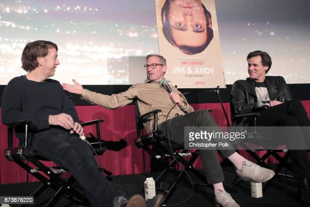 Chris Smith Spike Jonze and Jim Carrey speak onstage during 'Jim Andy The Great Beyond Featuring a Very Special Contractually Obligated Mention of...