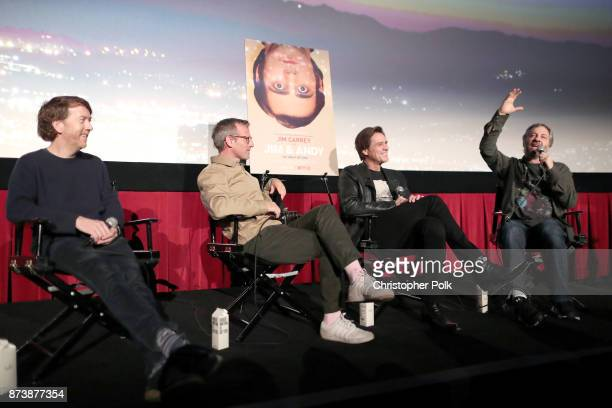 Chris Smith Spike Jonze Jim Carrey and Judd Apatow speak onstage during 'Jim Andy The Great Beyond Featuring a Very Special Contractually Obligated...