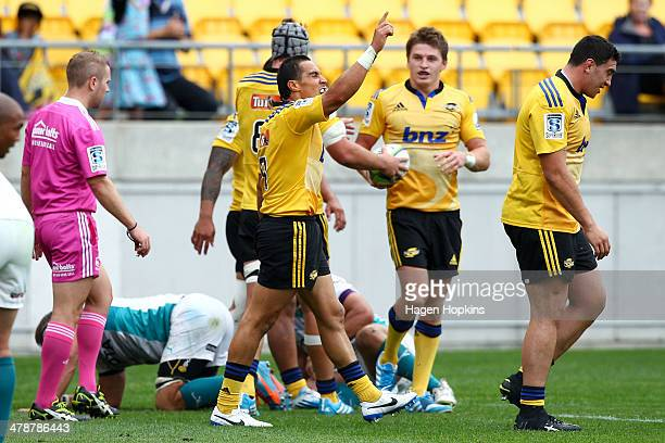 Chris Smylie of the Hurricanes celebrates after scoring a try during the round five Super Rugby match between the Hurricanes and the Cheetahs at...