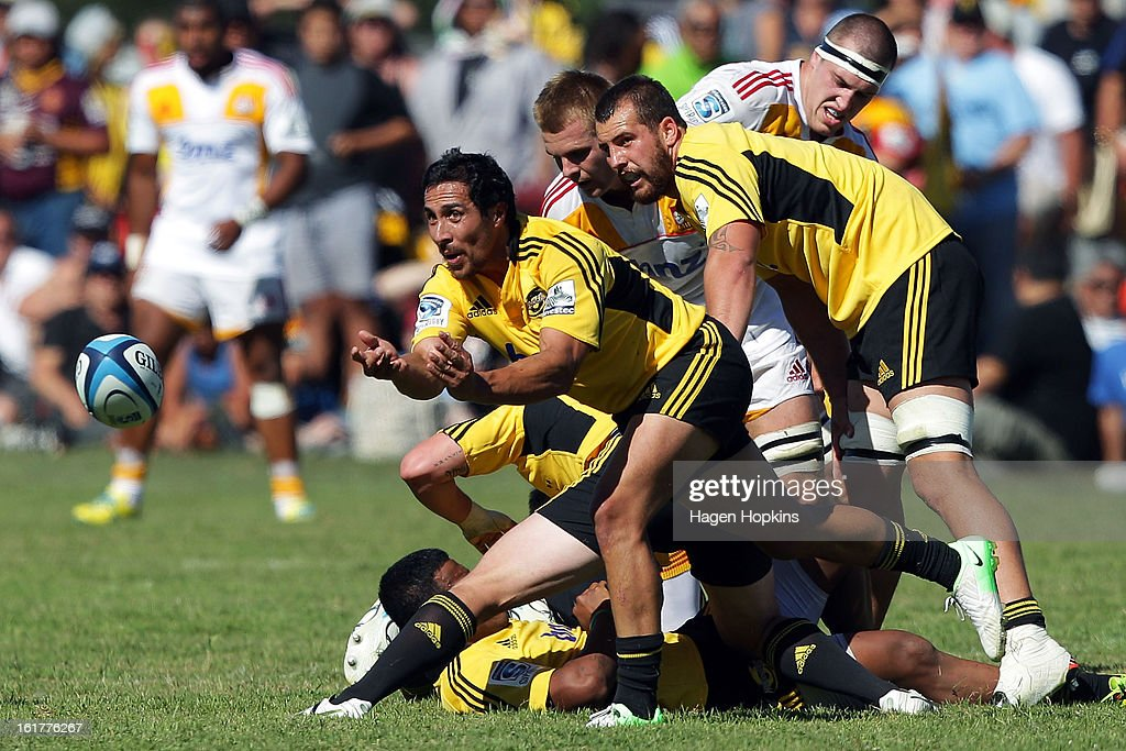 Chris Smylie of the Hurricanes passes from a ruck during the Super Rugby trial match between the Hurricanes and the Chiefs at Mangatainoka RFC on February 16, 2013 in Mangatainoka, New Zealand.