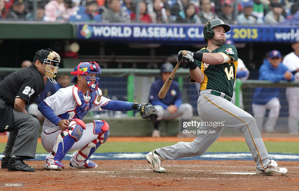 Chris Snelling of Australia bats in the second inning during the World Baseball Classic First Round Group B match between Australia and Chinese Taipei at Intercontinental Baseball Stadium on March 2, 2013 in Taichung, Taiwan.
