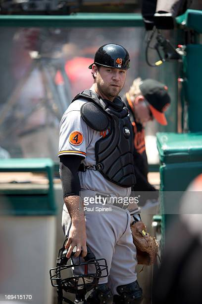 Chris Snyder of the Baltimore Orioles wears his catcher's gear in the dugout during the game against the Los Angeles Angels of Anaheim on May 4 2013...