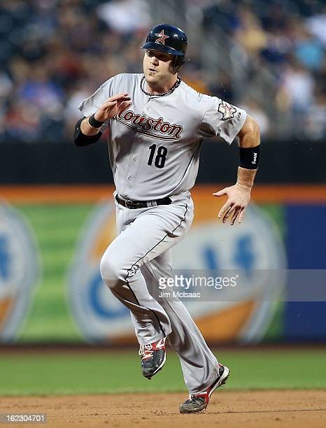 Chris Snyder of the Houston Astros in action against the New York Mets at Citi Field on August 24 2012 in the Flushing neighborhood of the Queens...
