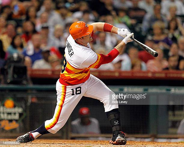 Chris Snyder of the Houston Astros is called out on strikes after he could not check his swing in the seventh inning on June 1 2012 at Minute Maid...