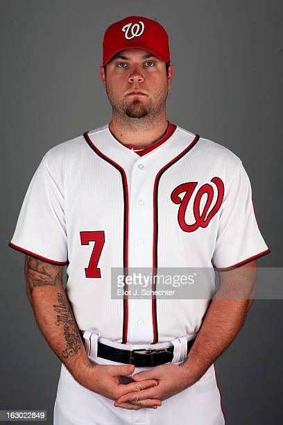 Chris Snyder of the Washington Nationals poses during Photo Day on February 20 2013 at Space Coast Stadium in Viera Florida
