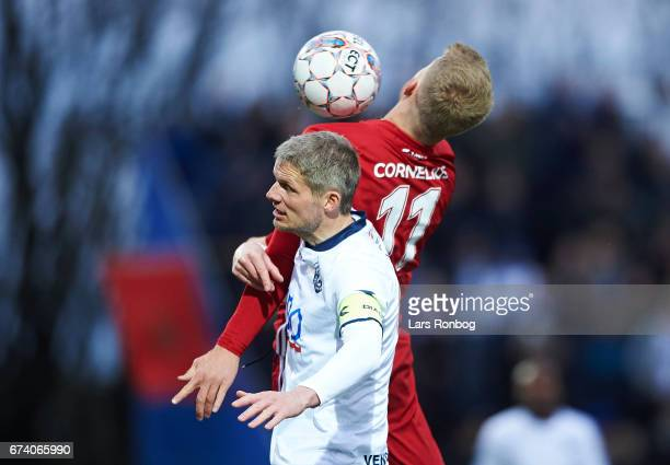 Chris Sorensen of Vendsyssel FF and Andreas Cornelius of FC Copenhagen compete for the ball during the Danish cup DBU Pokalen semfinal match between...