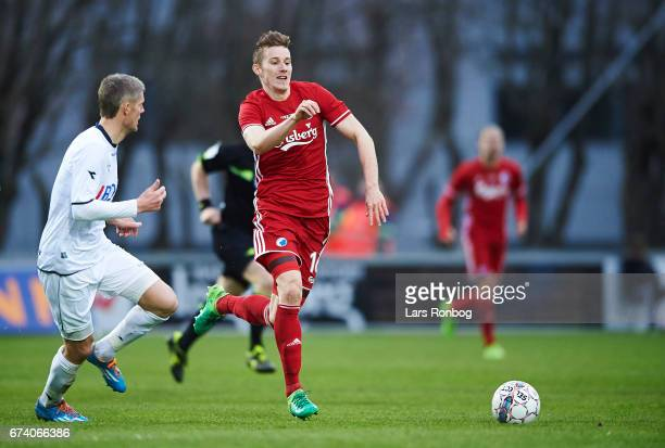 Chris Sorensen of Vendsyssel FF and Jan Gregus of FC Copenhagen compete for the ball during the Danish cup DBU Pokalen semfinal match between...