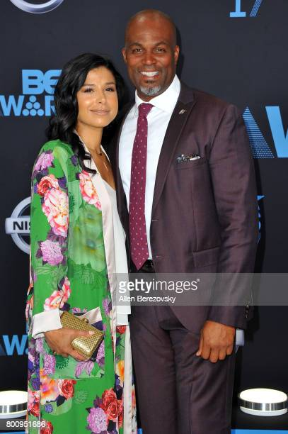 Chris Spencer and Vanessa Rodriguez Spencer arrive at the 2017 BET Awards at Microsoft Theater on June 25 2017 in Los Angeles California