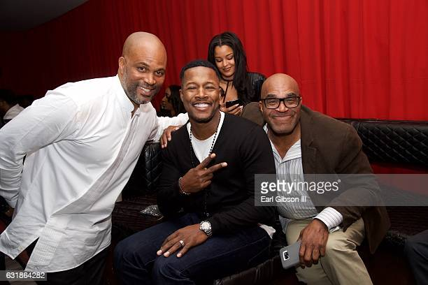 Chris Spencer Flex Alexander and Buddy Lewis attend the birthday celebration for Chris Spencer at The Savoy Entertainment Center on January 16 2017...