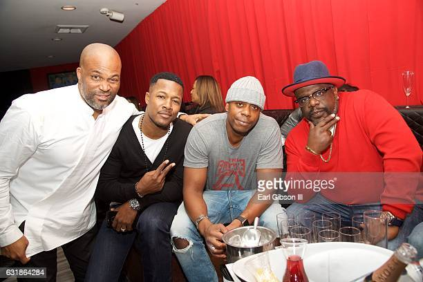 Chris Spencer Flex Alexander Dave Chappelle and Cedric the Entertainer pose for a photo at the Birthday Celebration for Chris Spencer at The Savoy...