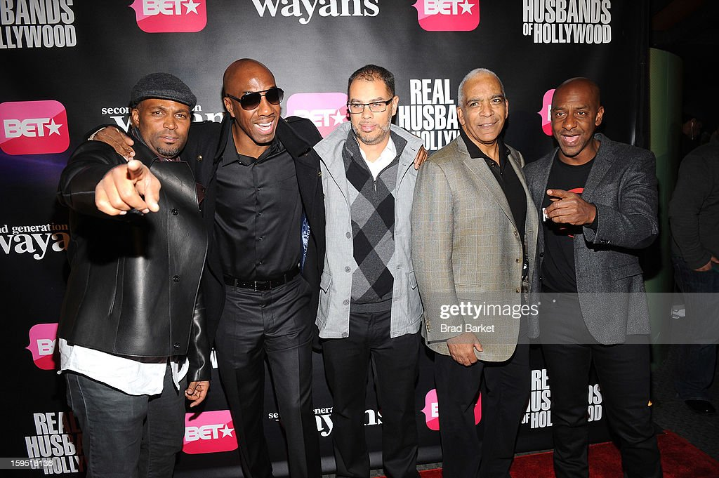 Chris Spencer, JB Smoove, Jesse Collins, Stan Lathan, and Stephen G. Hill attend BET Networks New York Premiere Of 'Real Husbands of Hollywood' And 'Second Generation Wayans' at SVA Theater on January 14, 2013 in New York City.
