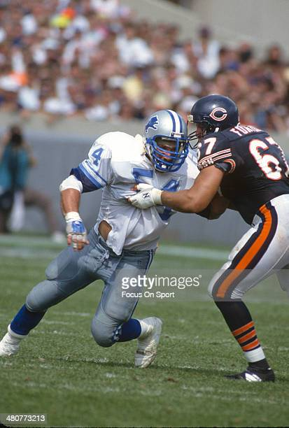 Chris Spielman of the Detroit Lions in action against Jerry Fontenot of the Chicago Bears during an NFL football game September 6 1992 at Soldier...