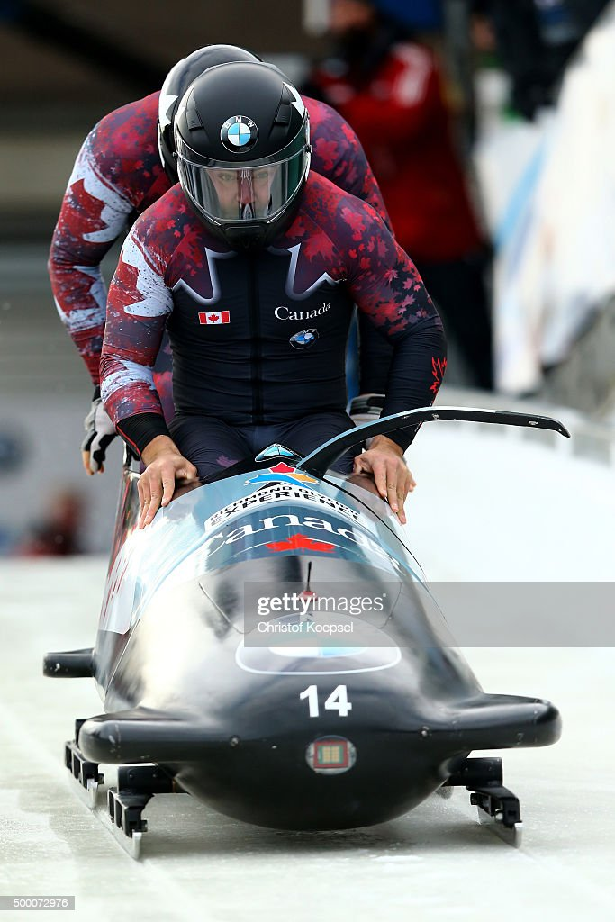 Chris Spring and Derek Plug of Canada compete in their first run of the two men's bob competition during the BMW IBSF Bob Skeleton Worldcup at...