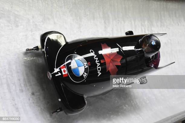 Chris Spring and Neville Wright of Canada compete in the 2man Bobsleigh during the BMW IBSF World Cup Bob Skeleton PyeongChang Presented by JIN AIR...