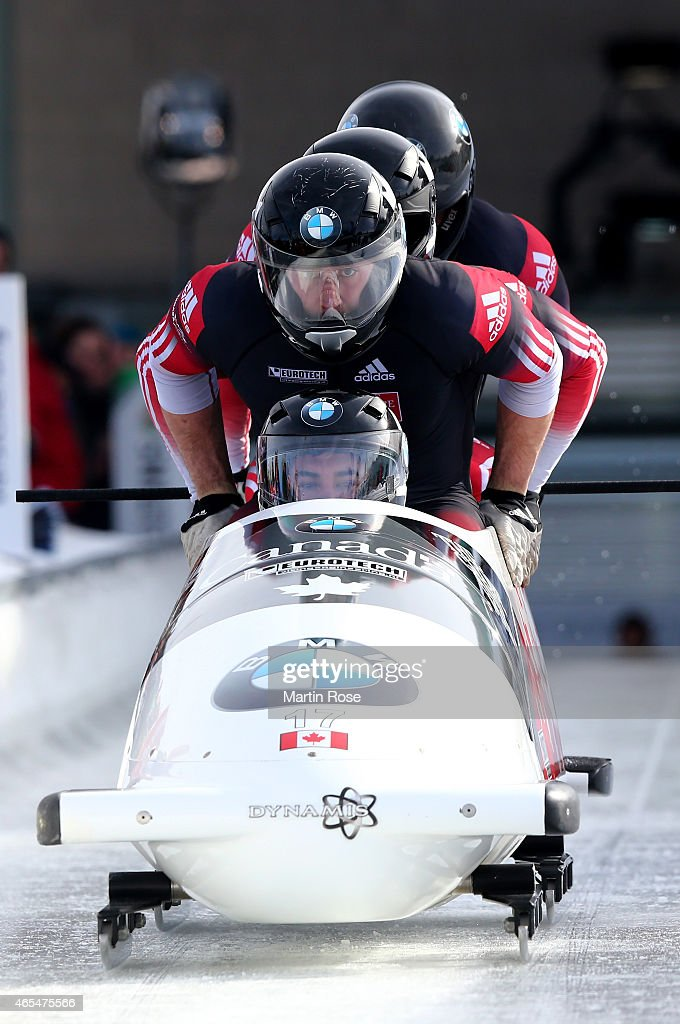 Chris Spring Derek Plug Alexander Kopacz and Lascelles Brown of Canada compete in their first run of the four man bob competition during the FIBT Bob...