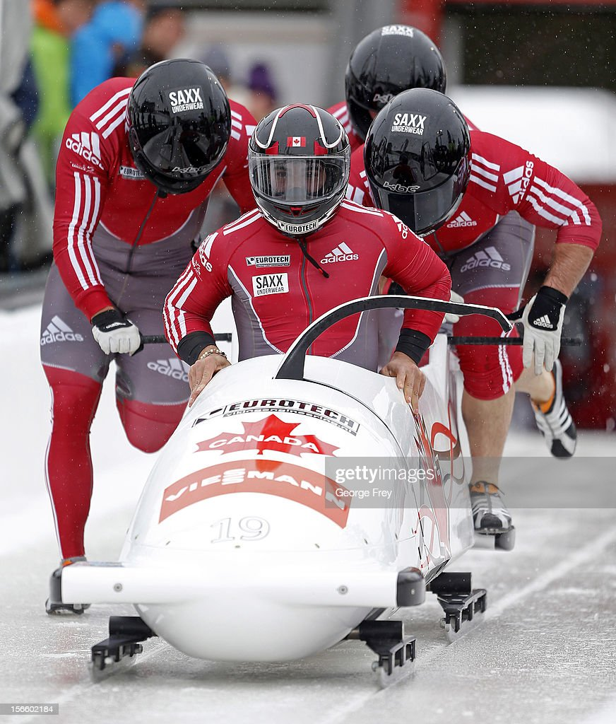 Chris Spring drives Canadian 2 sled to a eighth place finish in the FIBT Men's Four Man Bobsled World Cup Heat 1 at Utah Olympic Park on November 17, 2012 in Park City, Utah.