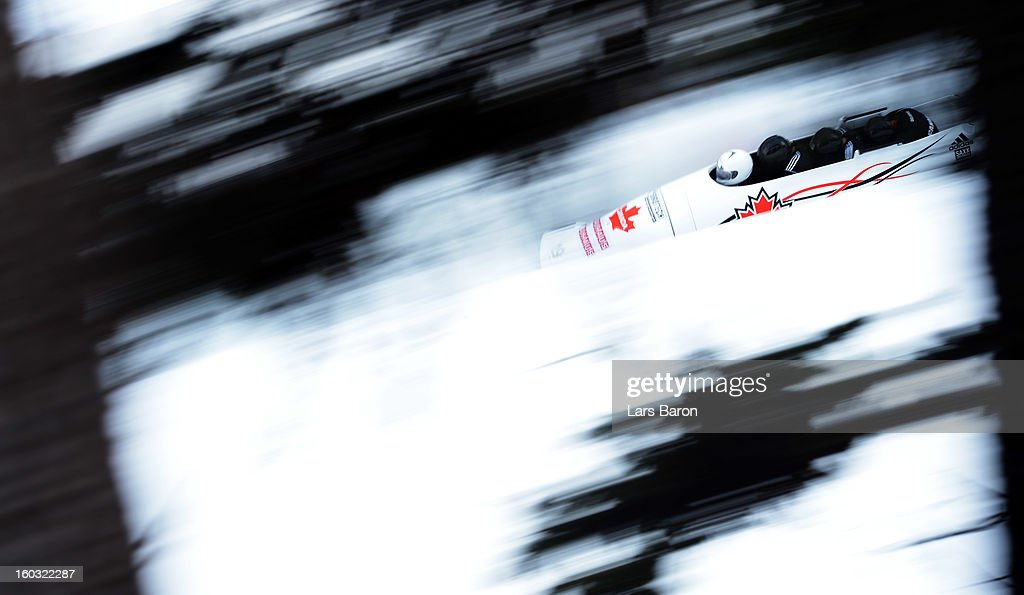 Chris Spring, Jean Nicolas Carriere, Cody Sorensen and Giguere Samuel of Canada compete during a training session at Olympia Bob Run on January 29, 2013 in St Moritz, Switzerland.