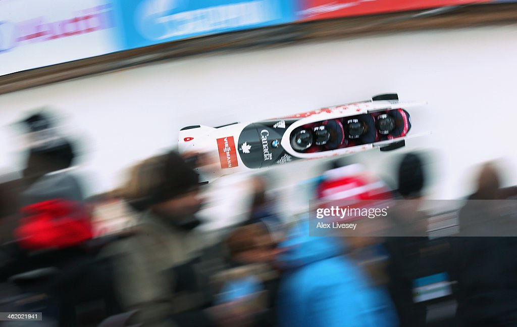Chris Spring Jesse Lumsden Cody Sorensen and Ben Coakwell of Canada in action during the final heat of the Men's Four Man Bobsleigh competition at...