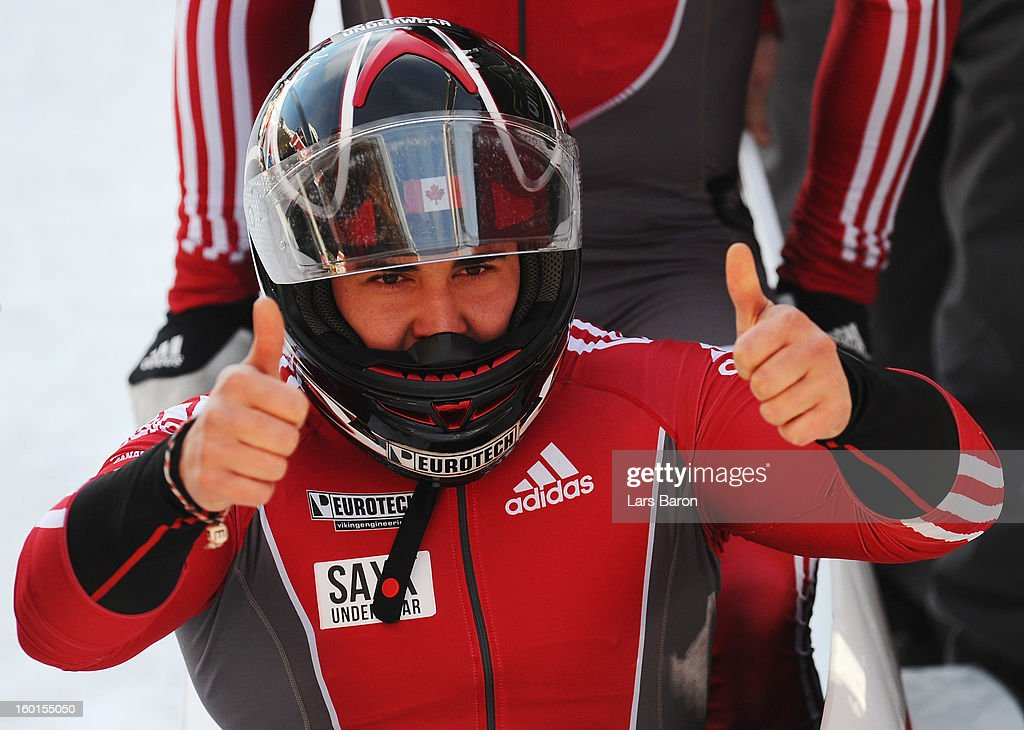 Chris Spring of Canada celebrates after the Two Men Bobsleigh final heat of the IBSF Bob & Skeleton World Championship at Olympia Bob Run on January 27, 2013 in St Moritz, Switzerland.
