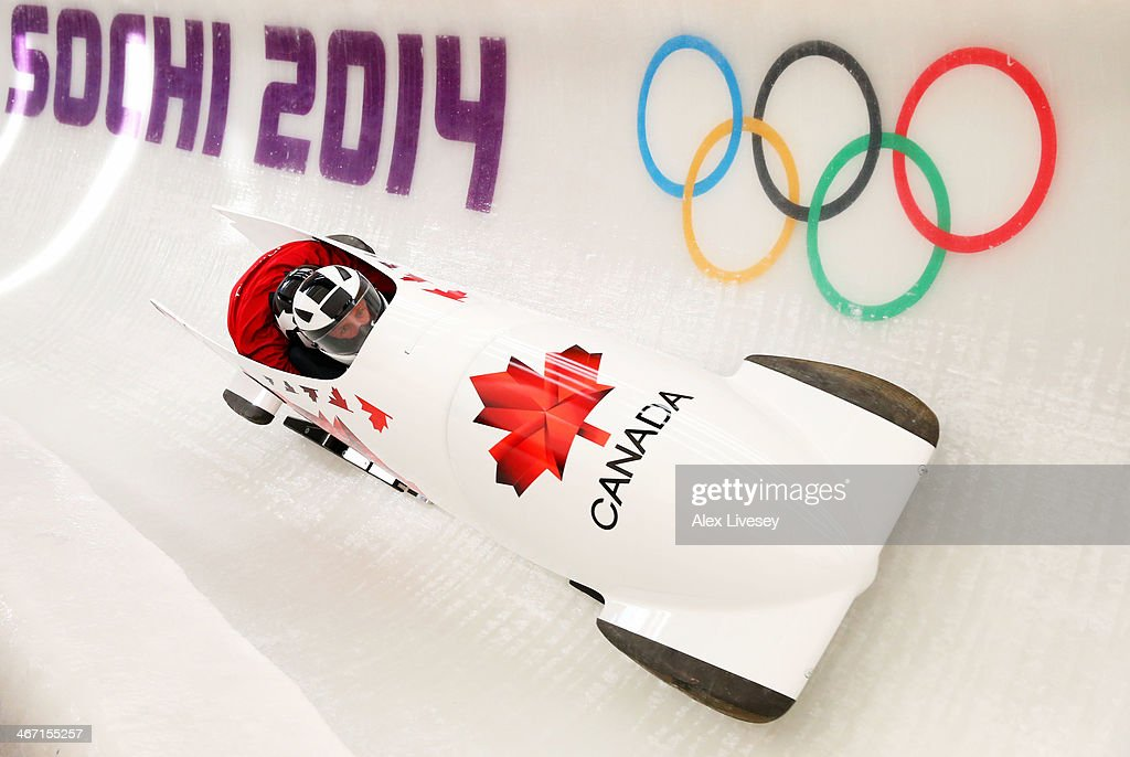 Chris Spring of Canada pilots a bobsleigh practice run ahead of the Sochi 2014 Winter Olympics at the Sanki Sliding Center on February 6 2014 in...