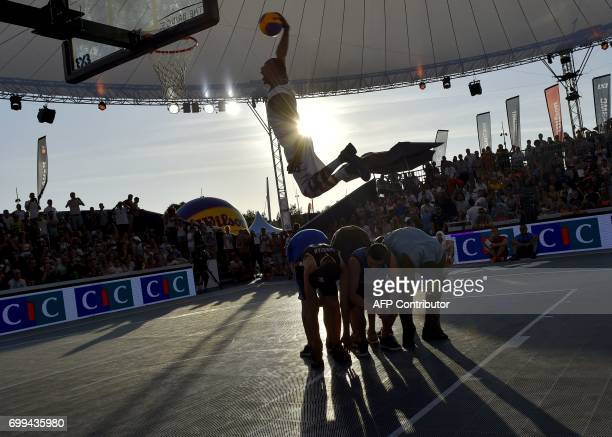 Chris Staples competes to win the silver medal of the basketball Dunk of the world championships on June 21 a few days prior to the start of The...