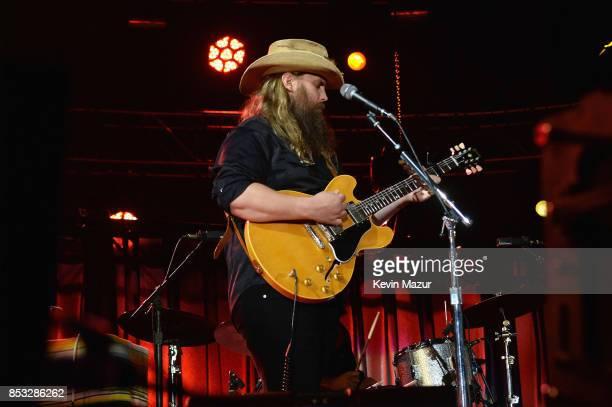 Chris Stapleton performs at 'A Concert for Charlottesville' at University of Virginia's Scott Stadium on September 24 2017 in Charlottesville...