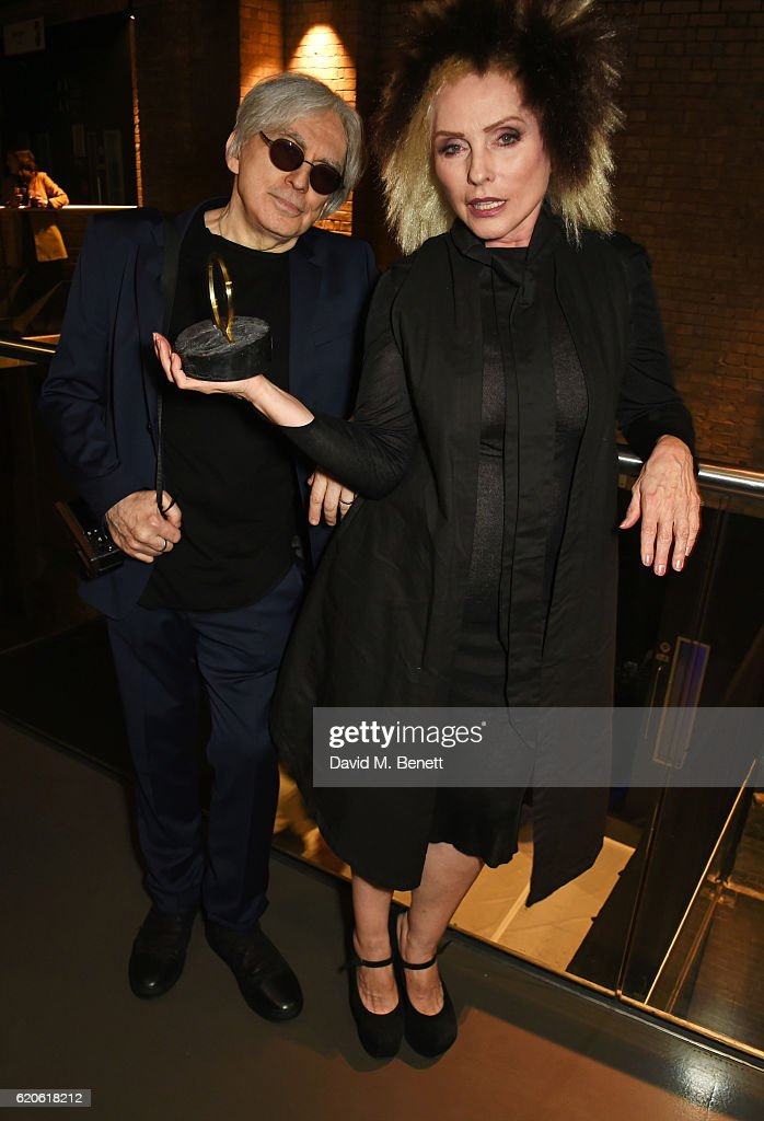 Chris Stein (L) and Debbie Harry of Blondie, winners of the Q Outstanding Contribution To Music award, pose at The Stubhub Q Awards 2016 at The Roundhouse on November 2, 2016 in London, England.