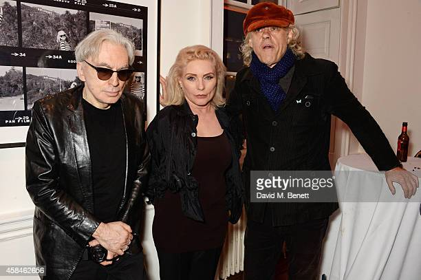 Chris Stein Debbie Harry and Sir Bob Geldof attend the private view of 'Chris Stein/Negative Me Blondie and the Advent of Punk' at Somerset House on...
