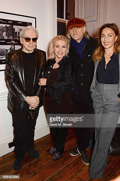 Chris Stein Debbie Harry Sir Bob Geldof and Jeanne Marine attend the private view of 'Chris Stein/Negative Me Blondie and the Advent of Punk' at...