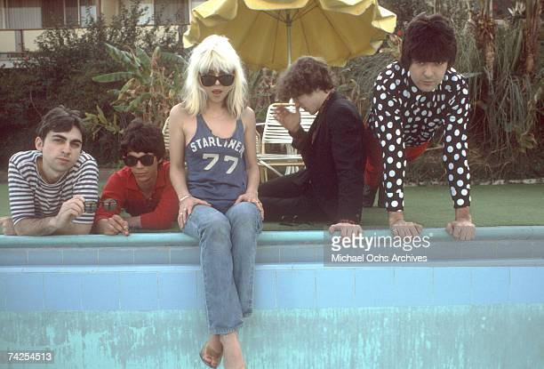 Chris Stein Jimmy Destri Debbie Harry Gary Valentine and Clem Burke of the rock and roll band 'Blondie' pose for a portrait session at the Bel Air...