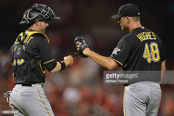 Chris Stewart and Jared Hughes both of the Pittsburgh Pirates celebrate after defeating the St Louis Cardinals 93 at Busch Stadium on September 4...