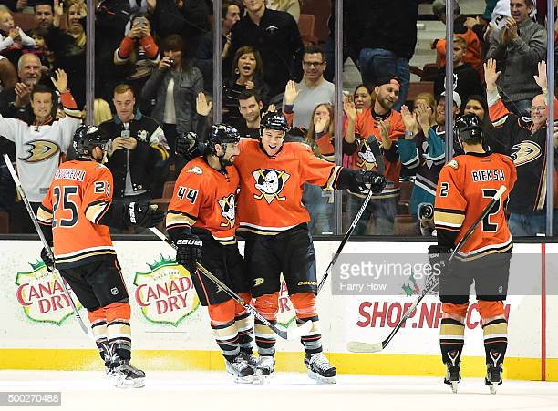 Chris Stewart of the Anaheim Ducks celebrates his goal with Nate Thompson Mike Santorelli and Kevin Bieksa to take a 21 lead over the Pittsburgh...