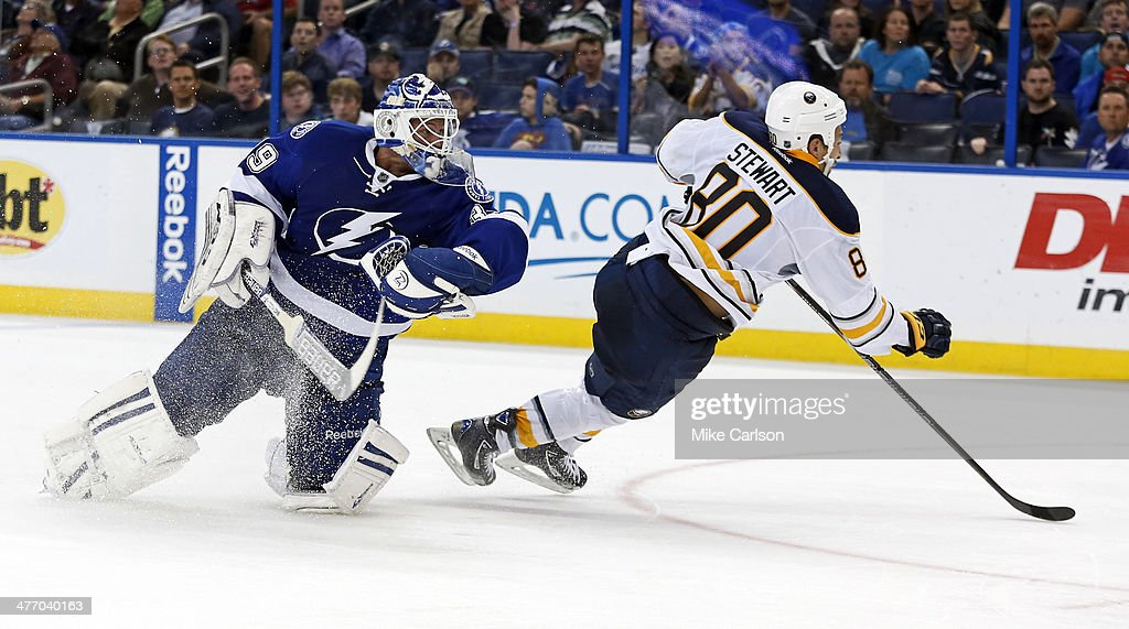 Chris Stewart #80 of the Buffalo Sabres collides with goalie <a gi-track='captionPersonalityLinkClicked' href=/galleries/search?phrase=Anders+Lindback&family=editorial&specificpeople=7211274 ng-click='$event.stopPropagation()'>Anders Lindback</a> #39 of the Tampa Bay Lightning at the Tampa Bay Times Forum on March 6, 2014 in Tampa, Florida.