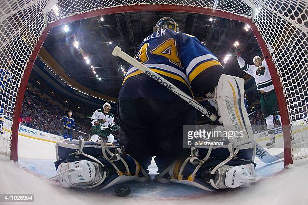 Chris Stewart of the Minnesota Wild celebrates after the Wild score a goal against Jake Allen of the St Louis Blues in Game Five of the Western...