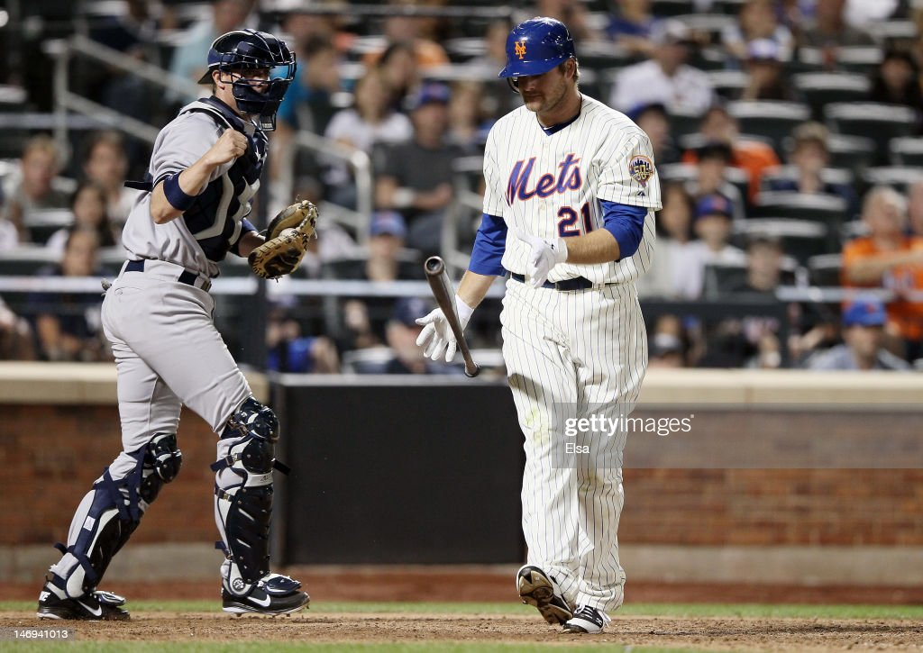 Chris Stewart of the New York Yankees celebrates as Lucas Duda of the New York Mets strikes out in the ninth inning on June 23 2012 during...