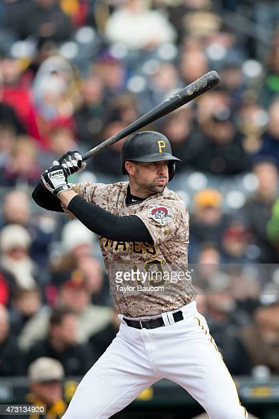 Chris Stewart of the Pittsburgh Pirates bats during the game against the Chicago Cubs at PNC Park on Thursday April 23 2015 in Pittsburgh Pennsylvania