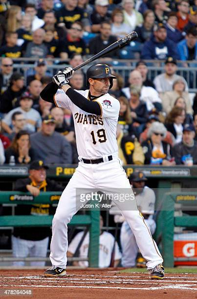 Chris Stewart of the Pittsburgh Pirates bats during the game against the New York Mets at PNC Park on May 22 2015 in Pittsburgh Pennsylvania