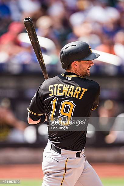 Chris Stewart of the Pittsburgh Pirates bats during the game against the New York Mets at Citi Field on August 16 2015 in the Queens borough of New...