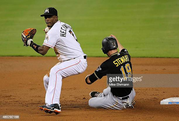 Chris Stewart of the Pittsburgh Pirates breaks up a double play as Adeiny Hechavarria of the Miami Marlins tries to turn the play during a game at...