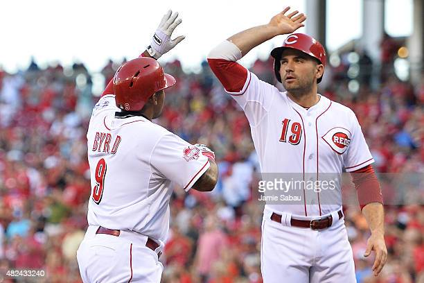 Chris Stewart of the Pittsburgh Pirates congratulates Marlon Byrd of the Cincinnati Reds at home plate after Byrd's threerun home run in the first...
