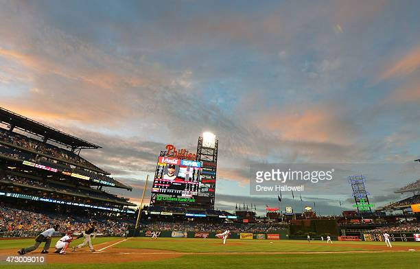Chris Stewart of the Pittsburgh Pirates hits a double in the fourth inning against the Philadelphia Phillies at Citizens Bank Park on May 11 2015 in...