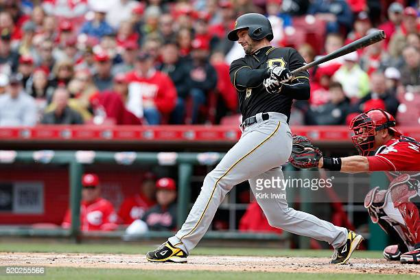 Chris Stewart of the Pittsburgh Pirates hits a home run during the second inning of the game against the Cincinnati Reds at Great American Ball Park...
