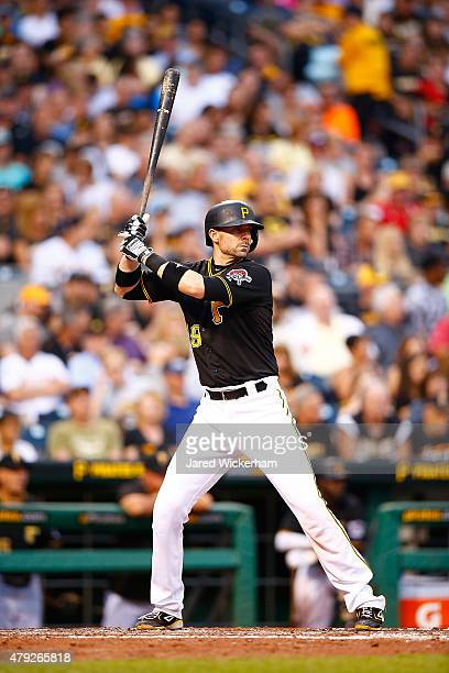 Chris Stewart of the Pittsburgh Pirates in action against the Atlanta Braves during the game at PNC Park on June 26 2015 in Pittsburgh Pennsylvania
