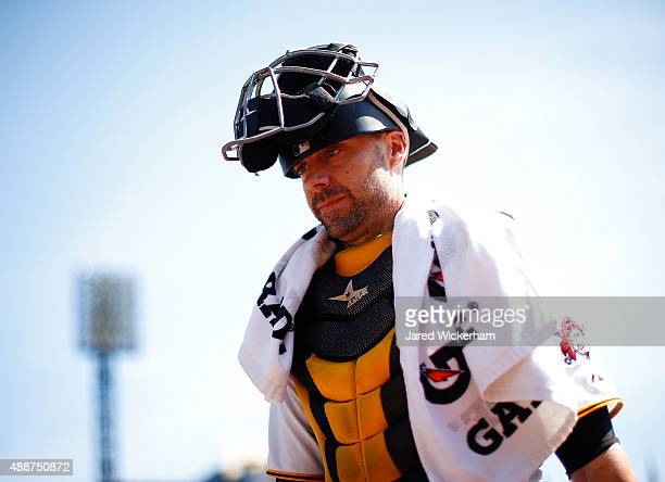 Chris Stewart of the Pittsburgh Pirates in action against the Chicago Cubs during game one of a doubleheader at PNC Park on September 15 2015 in...