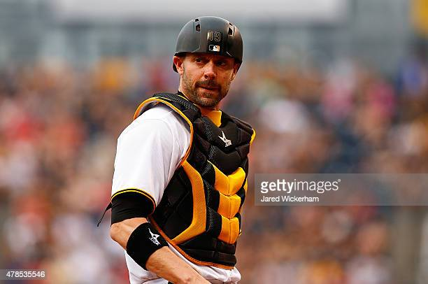 Chris Stewart of the Pittsburgh Pirates in action against the Philadelphia Phillies during the game at PNC Park on June 13 2015 in Pittsburgh...