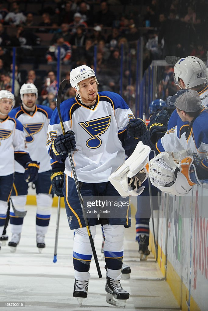 Chris Stewart #25 of the St. Louis Blues celebrates after a goal in a game against the Edmonton Oilers on December 21, 2013 at Rexall Place in Edmonton, Alberta, Canada.
