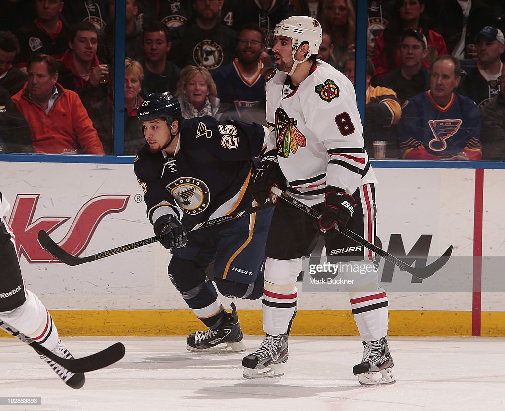 Chris Stewart #25 of the St. Louis Blues skates against <a gi-track='captionPersonalityLinkClicked' href=/galleries/search?phrase=Nick+Leddy&family=editorial&specificpeople=5894600 ng-click='$event.stopPropagation()'>Nick Leddy</a> #8 of the Chicago Blackhawks in an NHL game on February 28, 2013 at Scottrade Center in St. Louis, Missouri.